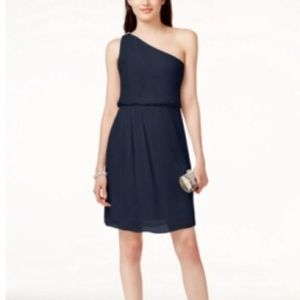 Adrianna Papell One Shoulder Navy Event Dress 4